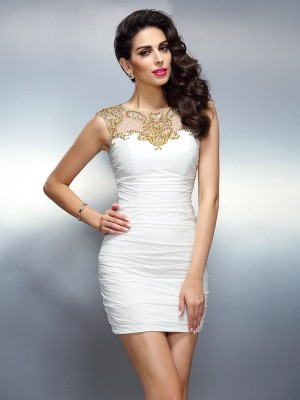 Sheath/Column Bateau Sleeveless Short/Mini Chiffon Dresses with Beading