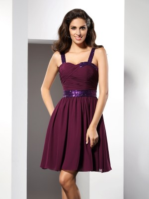 A-Line/Princess Straps Sleeveless Short/Mini Chiffon Ruched Dresses