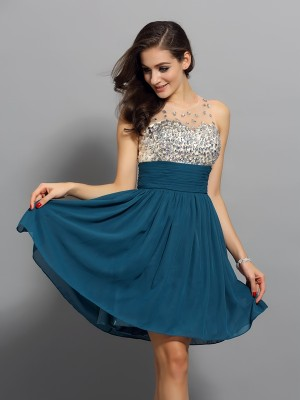 A-Line/Princess Bateau Sleeveless Short/Mini Chiffon Dresses with Rhinestone