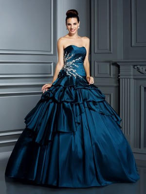 Ball Gown Strapless Sleeveless Floor-Length Taffeta Dresses with Beading