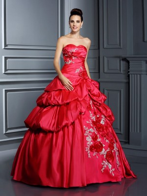 Ball Gown Sweetheart Sleeveless Floor-Length Taffeta Dresses with Hand-Made Flower