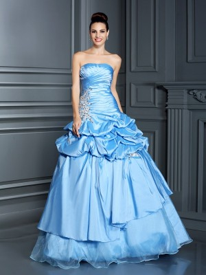 Ball Gown Sweetheart Sleeveless Floor-Length Organza Dresses with Ruffles