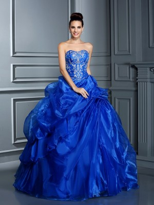 Ball Gown Sweetheart Sleeveless Floor-Length Satin Dresses with Applique