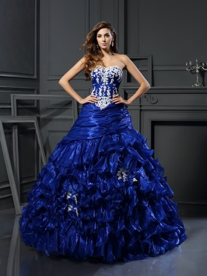 Ball Gown Sweetheart Sleeveless Floor-Length Tulle Dresses with Beading Applique