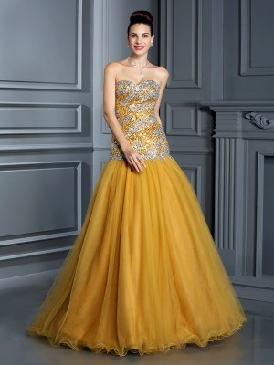 A-Line/Princess Sweetheart Sleeveless Floor-Length Satin Dresses with Ruffles
