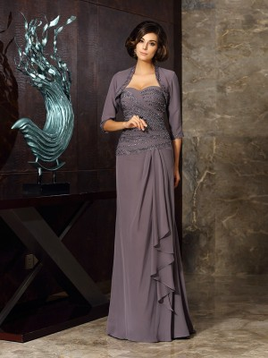 Sheath/Column Sweetheart Sleeveless Floor-Length Chiffon Mother of the Bride Dresses with Beading Applique