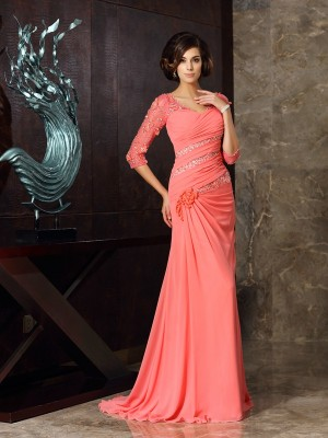 Trumpet/Mermaid Sweetheart 1/2 Sleeves Sweep/Brush Train Chiffon Mother of the Bride Dresses