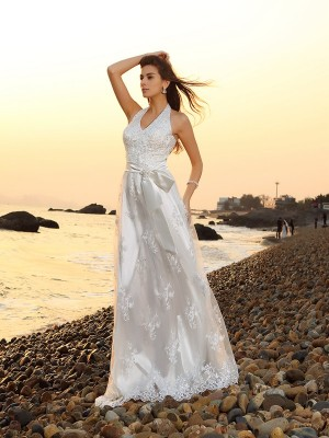 A-Line/Princess Halter Sleeveless Chapel Train Lace Wedding Dresses with Sash/Ribbon/Belt