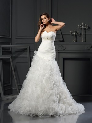 A-Line/Princess Sweetheart Sleeveless Chapel Train Organza Wedding Dresses with Beading