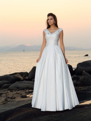 A-Line/Princess V-neck Sleeveless Floor-Length Taffeta Wedding Dresses with Beading Applique