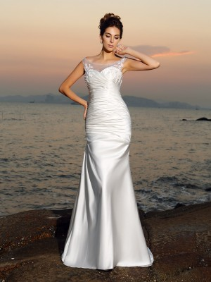 Trumpet/Mermaid Scoop Sleeveless Sweep/Brush Train Satin Wedding Dresses with Beading Applique