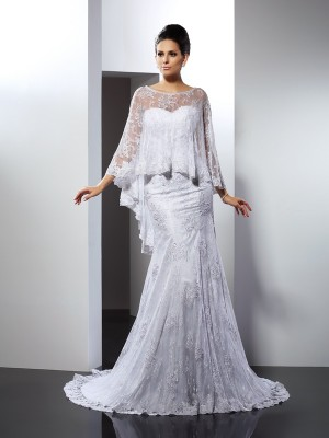 Trumpet/Mermaid Sweetheart Sleeveless Court Train Lace Wedding Dresses with Applique