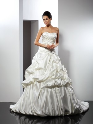 Ball Gown Sweetheart Sleeveless Cathedral Train Satin Wedding Dresses