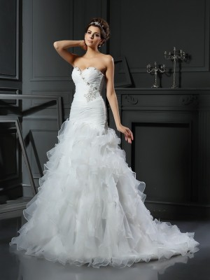 Trumpet/Mermaid Sweetheart Sleeveless Chapel Train Organza Wedding Dresses with Ruffles