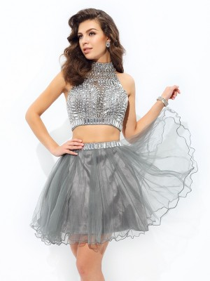 A-Line/Princess High Neck Sleeveless Short/Mini Net Dresses with Ruffles