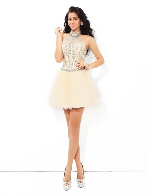 A-Line/Princess Halter Sleeveless Short/Mini Satin Dresses with Beading