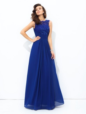 A-Line/Princess Scoop Sleeveless Floor-Length Chiffon Dresses with Lace
