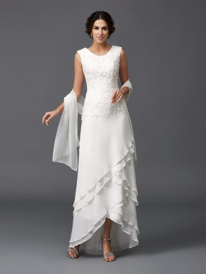 A-Line/Princess Scoop Sleeveless Ankle-Length Chiffon Mother of the Bride Dresses with Lace