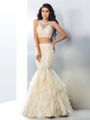 Trumpet/Mermaid Sheer Neck Sleeveless Floor-Length Tulle Dresses with Beading