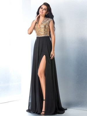 A-Line/Princess V-neck Sleeveless Sweep/Brush Train Chiffon Dresses with Rhinestone