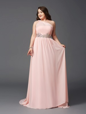 A-Line/Princess One-Shoulder Sleeveless Sweep/Brush Train Chiffon Dresses with Rhinestone