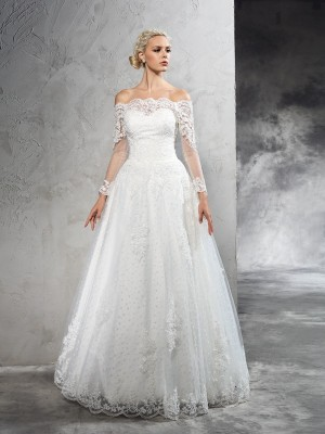 Ball Gown Off-the-Shoulder Long Sleeves Floor-Length Net Wedding Dresses with Lace