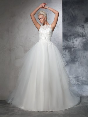 Ball Gown Bateau Sleeveless Chapel Train Net Wedding Dresses with Applique