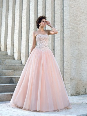 Ball Gown Strapless Sleeveless Floor-Length Satin Wedding Dresses with Beading