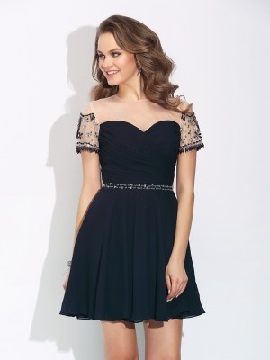 A-Line/Princess Jewel Short Sleeves Short/Mini Chiffon Dresses with Beading