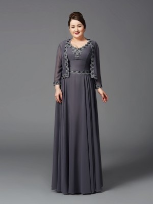 A-Line/Princess Straps Sleeveless Floor-Length Chiffon Mother of the Bride Dresses with Lace