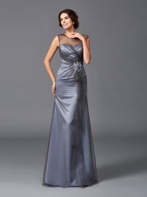 Sheath/Column Scoop Sleeveless Floor-Length Net Mother of the Bride Dresses with Beading