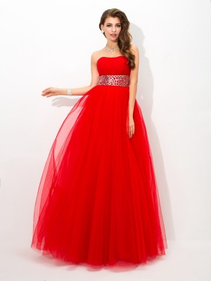 Ball Gown Strapless Sleeveless Floor-Length Net Dresses with Beading