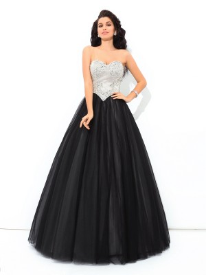 Ball Gown Sweetheart Sleeveless Floor-Length Net Dresses with Paillette