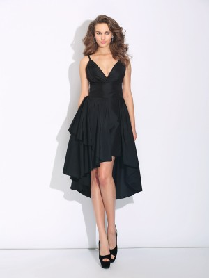 A-Line/Princess Spaghetti Straps Sleeveless Asymmetrical Taffeta Dresses with Ruffles