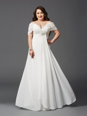 A-Line/Princess Off-the-Shoulder Short Sleeves Floor-Length Chiffon Ruched Dresses