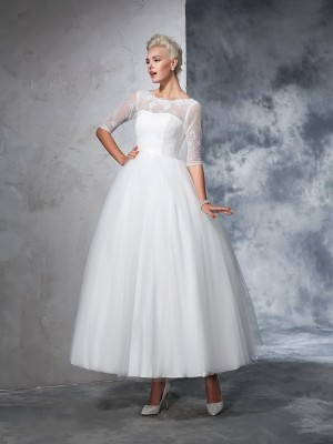 Ball Gown Bateau 1/2 Sleeves Ankle-Length Net Wedding Dresses with Lace