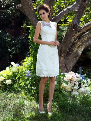 A-Line/Princess Sheer Neck Sleeveless Knee-Length Satin Wedding Dresses with Applique
