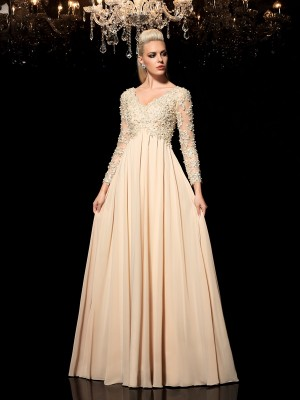 A-Line/Princess V-neck Long Sleeves Floor-Length Chiffon Dresses with Applique