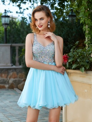 A-Line/Princess Straps Sleeveless Short/Mini Chiffon Dresses with Rhinestone