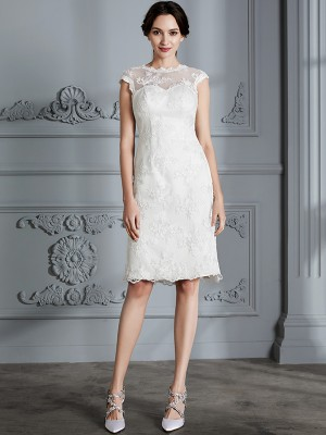 A-Line/Princess Scoop Sleeveless Knee-Length Satin Wedding Dresses with Lace