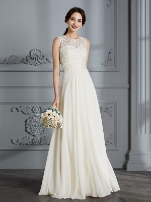 A-Line/Princess Scoop Sleeveless Floor-Length Chiffon Wedding Dresses