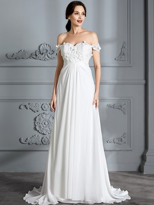 A-Line/Princess Off-the-Shoulder Sleeveless Floor-Length Chiffon Wedding Dresses