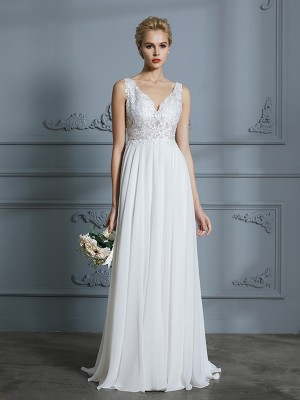 A-Line/Princess V-neck Sleeveless Sweep/Brush Train Chiffon Wedding Dresses with Lace