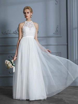 A-Line/Princess Scoop Sleeveless Floor-Length Tulle Wedding Dresses with Lace
