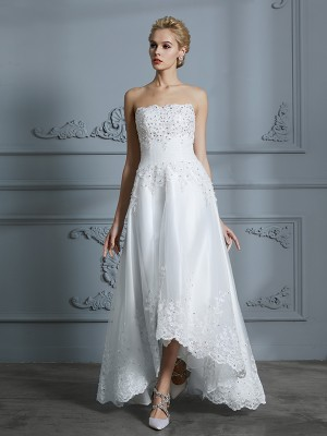 A-Line/Princess Sweetheart Sleeveless Asymmetrical Tulle Wedding Dresses with Beading