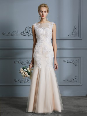 Trumpet/Mermaid Scoop Sleeveless Floor-Length Tulle Wedding Dresses with Applique