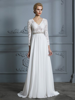 A-Line/Princess V-neck 3/4 Sleeves Sweep/Brush Train Chiffon Wedding Dresses with Lace