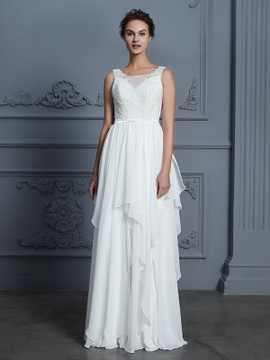 A-Line/Princess Scoop Sleeveless Floor-Length Chiffon Wedding Dresses with Ruffles