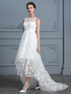 A-Line/Princess Scoop Sleeveless Asymmetrical Lace Wedding Dresses with Lace