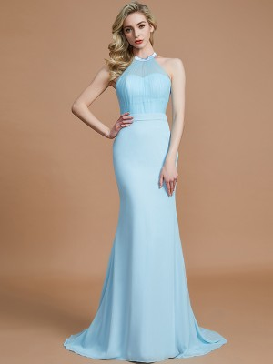 Trumpet/Mermaid Scoop Sleeveless Sweep/Brush Train Chiffon Bridesmaid Dresses